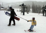 (LOVELAND BASIN, Colo., April11, 2005) Dan Ebert (cq) helps his four year old daughter Marlee to...