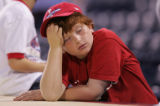 [JOE0599] Philadelphia Phillies fan Eli Needle leans on the top of the Rockies dugout after the...