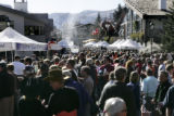 {Vail, Colorado.  April 6, 2005} The crowds sample the food at the Colorado Lamb Cook-off in Vail...