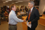 (BOULDER, CO., MAY 27, 2004)  Boulder Valley Education Association's Michael Altenbern, left,...