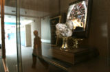 (Ft Collins, Co} shot on 4/8/05})  Preston Junior High'strophy case holds a symbolic rock and a...