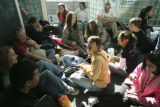 {Denver, Colorado.  April 11, 2005.  A group of 73 high school students from San Antonio, Tx. wait...
