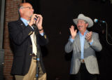 PHOTO BY CHRISTOPHER TOMLINSON--Bernie Buesher(left)and John Salazar at the Mesa Theater &...