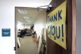 A sign thanking staff and volunteers hangs on the door  at the Republican Headquarters at 6445 S...