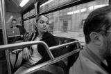 (DENVER, COLO.,  APRIL 12, 2005) Arlene rides the bus on Tuesday morning on April 12, 2005, on her...