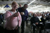 Ellen Hofmann (cq) asks a question during a recruiting fair for a future Vestas Nacelles plant in...