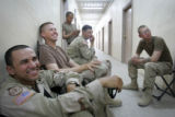 04/12/2005 Iraq-Members of Lightning Troop, 3rd ACR, Specialist Carlos Martinez, 26, from left,...
