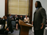 Washington April 12, 2005 - George Foster, starting right tackle for the Denver Broncos, speaks at...
