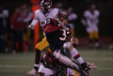 #33 Blair Zimmerman (cq) of Heritage is tackled by #60 Cedric Jackson (cq) of Sierra during the...