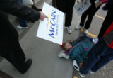 (CS010) Abby Potter, 5, of Berthoud, waits outside to see Republican presidential candidate John...