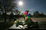 BG0047 A stuffed amimal sits on a memorial in front of the school as students cope with the loss...