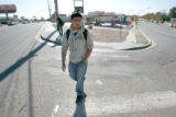 BG0177 Christian Lopez, 17, a junior at George Washington high school, re-traces the steps of...