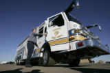 Denver Fire Department Mechanic 1, Dan Ramsey, steps out of a new unused $750,000 HazMat vehicle...