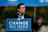 DM2417  Former Denver mayor Federico Pena speaks during a rally for Democratic presidential...