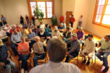 Democratic Congressman Mark Udall (cq) talks to a mixed bipartisan crowd in a town hall meeting...