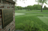 A plaque on the No.1 teebox is dedicated to Arnold Palmer's 1960 final round in the Men's U.S....