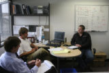Matthew Hickman, right, during his interview at REC SOLAR,  9032 Marshall Court, with Cary Hayes...