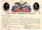 """Let the People Rule"" certificate acknowledges a $10 contribution from J.R. Doty of..."