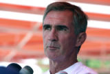 Bronco Head Coach Mike Shanahan (cq) speaks to the media after  Bronco practice field Monday June...