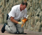 A Denver Fire investigator removes possible evidence from outside of  the Meeting Place of the...