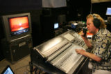 Backstage shots of recording engineers for Naxos, Tim Handley and John Newton work with recording...