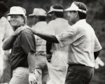 JJack Nicklaus and Raymond Floyd share a friendly joke as the leave the ninth green at Castl Pine...