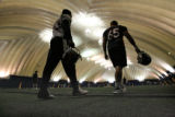 Bronco players show up for practice,Thursday morning, June 5, 2008, at the Family Sports Center,...