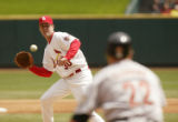 23 April, 2005  Cardinals starting pitcher Mark Mulder fields a ground ball hit back at him by...