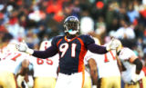 Ebenezer Ekuban tries to fire up the crowd in the second quarter of the Denver Broncos against the...