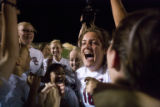 Jenna Greulich (cq) screams with her team after the Silver Creek Raptors beat the Niwot Cougars...