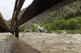 The Colorado River surges near the bike path in Glenwood Canyon on Wedensday, May 21, 2008. ...