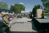 BG0142 Denver Broncos owner Pat Bowlen, speaks during the official dedication of a statue of...
