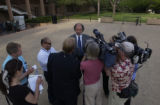 David Lane (cq), defense attorney for  Ward Churchill, speaks with members of the media after he...