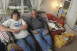 Greg Kreller Darlene Emry (CQ), left, and her husband Howard Emry (CQ) talk about the...
