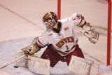 #1 Marc Cheverie (cq), goalie for the Denver Pioneers during a game versus the Ohio State Buckeyes...