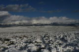 Sagebrush is covered with snow as a storm moves away from the Medicine Bowl Mountains, Wednesday...