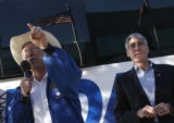 DM3006  Senatorial candidate Mark Udall, right, is introduced by Sen. Ken Salazar as they make a...