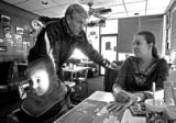 DM3580  Senatorial candidate Mark Udall, left, talks with JudyAnn Mestas, 26, of Commerce City,...