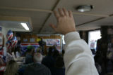 Lisa Bramlett (cq) raises her hand to ask a question of Bob Schaffer (cq) who was speaking with...