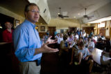United States Senate candidate Bob Schaffer (cq) speaks with supporters Wednesday, October, 29,...