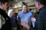 Kathryn and Larry Thaller (cq) of Steamboat talk with United States Senate candidate Bob Schaffer...