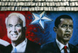 A mural of John McCain and Barack Obama on an empty building at 3rd Avenue and Lashley Street near...