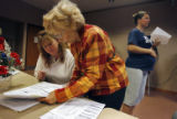 (At center) Lenora Mahan (cq), an elections volunteer at the Standley Lake Library in Westminster....
