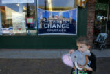 (CS190) Kevin Allen (cq), 4, plays with a toy elephant outside the Obama campaign office in...