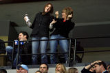 DM4853  NHLxxxAvsxxBluexxxJacketsxx55445 Two Colorado Avalanche fans dance after a late goal...