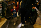 DM5301  NHLxxxAvsxxBluexxxJacketsxx55445 Three-year-old Jack Krueger walks into the Pepsi Center...
