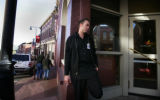 Dealer, Ryan McChrystal takes a cigarette break outside of Century Casino in Central City , Colo....