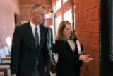 L to R: Jeffrey Scott Hawn (cq) and attorney Pamela Mackey (cq)  exit the Park County Courthouse...