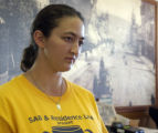 Jackquie Goetsch, waitress at the Golden Burro Cafe in Leadville, Colorado talks   Monday, June 6,...
