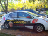 Here are a couple of pictures of the Prius.  As for the gas cards, we were simply handing out gift...